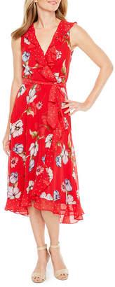 Danny & Nicole Sleeveless Floral Dot Dress