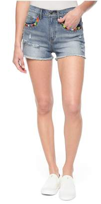 Juicy Couture Embroidered Tropicana Denim Mid-Rise Short