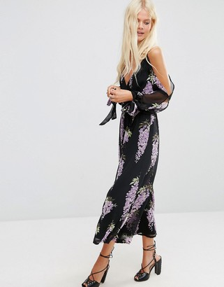 ASOS Jumpsuit with Cold Shoulder in Lilac Oversized Floral Print $83 thestylecure.com