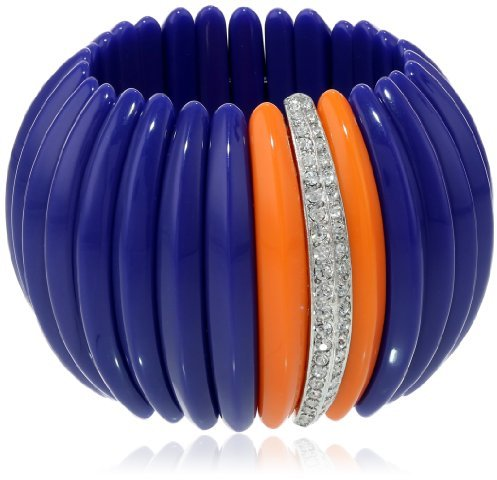 Kenneth Jay Lane Lapis Resin and Rhine Bars Stretch Cuff Bracelet, 9""