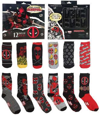 Marvel 12 Days of Socks Gift Box Deadpool Crew Socks-Mens