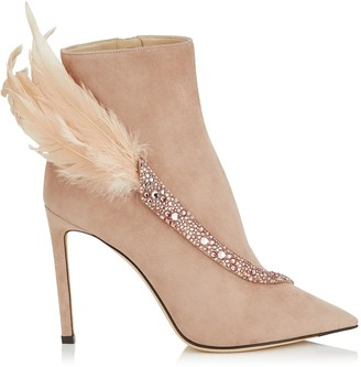 Jimmy Choo TANYA 100 Ballet Pink Suede Booties with Crystals and Feathers
