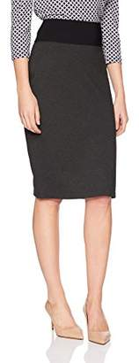 Lark & Ro Women's High Waist Double Knit Ponte Stretch Pencil Skirt