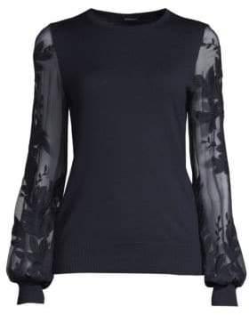 Elie Tahari Waneta Wool& Silk Embroidered Sweater