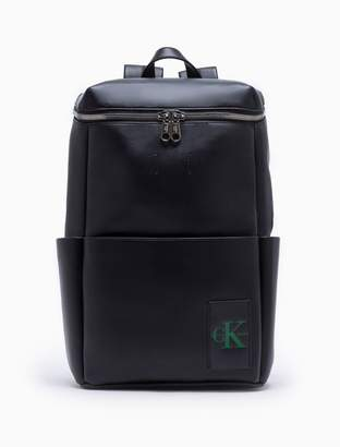 Calvin Klein monogram logo natural grain zip backpack
