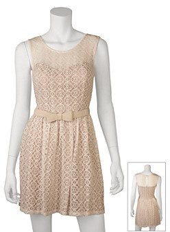 Amy Byer A Byer A. Byer Juniors' Belted Lace Dress