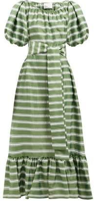 Lisa Marie Fernandez Prairie Striped Satin Dress - Womens - Green White