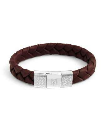 Tateossian Men's Ermenegildo Zegna Braided Leather Silver Bracelet, Brown
