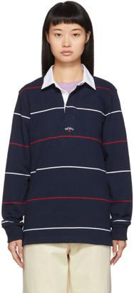 Noah NYC Navy Striped Logo Rugby Polo