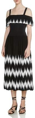 Maje Rosier Geo-Pattern Pleated Knit Midi Dress
