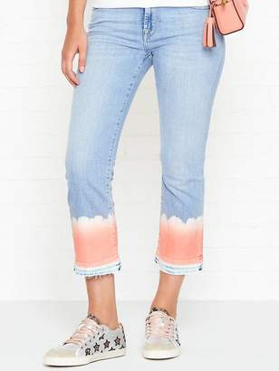 7 For All Mankind Cropped Bootcut Unrolled Hem Bleach Jeans - Coral Bleach
