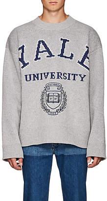 Calvin Klein Men's Yale-Knit Virgin Wool-Blend Oversized Sweater - Light Gray