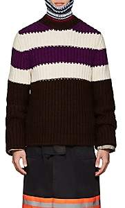 Calvin Klein Men's Striped Wool-Mohair Oversized Sweater - Dk. Purple