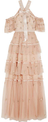 Needle & Thread Lumiere Cold-shoulder Ruffled Embellished Tulle Gown - Baby pink