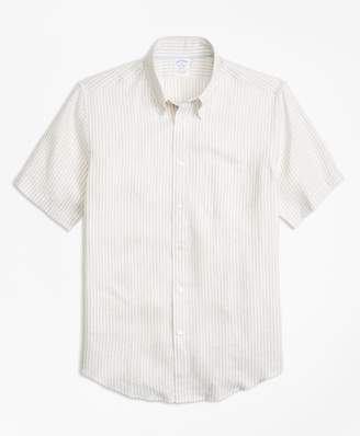 Brooks Brothers Regent Fit Safari Stripe Irish Linen Short-Sleeve Sport Shirt