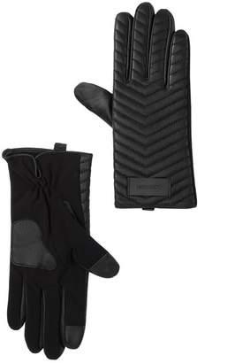 Calvin Klein Chevron Quilted Leather Touchscreen Gloves