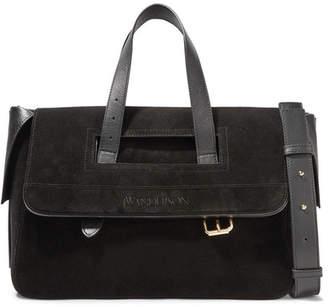 Tool Leather-trimmed Suede Shoulder Bag - Black