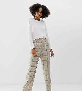 Monki tailored wide leg pants with check print in beige