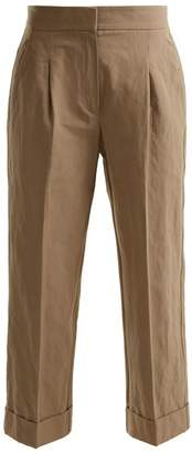 Brunello Cucinelli Straight Leg Cropped Cotton Blend Chino Trousers - Womens - Beige