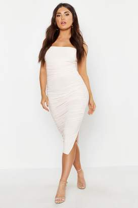boohoo Ruched Midi Bodycon Dress