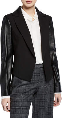 Michael Kors Leather Sleeve Wool-Blend Blazer