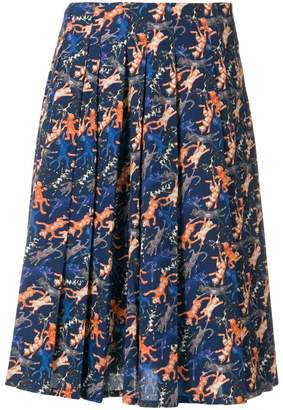 Peter Jensen cat print pleated skirt