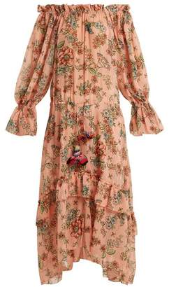 Anjuna - Sofia Off The Shoulder Floral Print Dress - Womens - Pink Multi