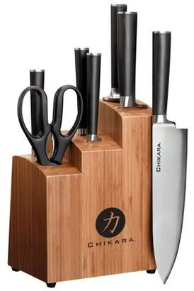 Ginsu Gourmet Chikara Series Forged 8-Piece Japanese Steel Knife Set Cutlery Set with 420J Stainless Steel Kitchen Knives Bamboo Finish Block, COK-KB-DS-008-1