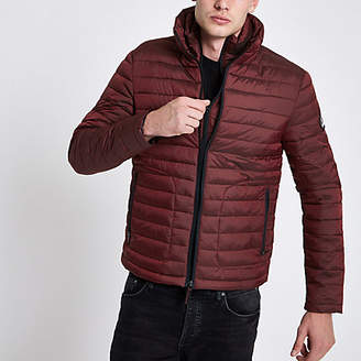 River Island Superdry red zip funnel neck puffer jacket