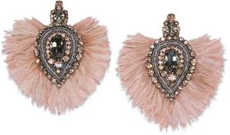 Tory Burch EMBELLISHED FEATHER EARRING