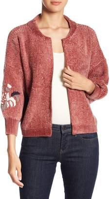 Nostalgia Knit Embroidered Sleeve Cardigan