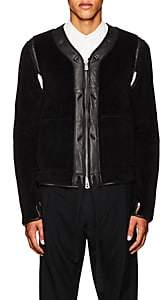 Takahiromiyashita theSoloist TAKAHIROMIYASHITA THESOLOIST MEN'S LEATHER-TRIMMED COTTON FLEECE JACKET-BLACK SIZE 50 EU