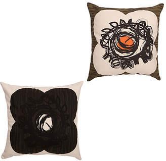 Orla Kiely Textured Spot Flower Reversible Cushion Dark Olive & Nutmeg