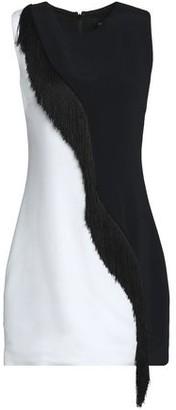 Cushnie et Ochs Nisa Fringe-Trimmed Two-Tone Stretch-Crepe Mini Dress