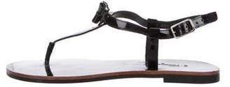 Salvatore Ferragamo Patent Leather T-Strap Sandals