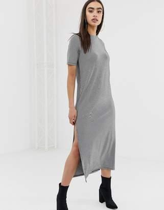5d6b6d54039 Asos Design DESIGN t-shirt maxi dress with split in fine stripe