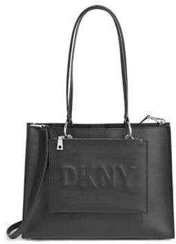 DKNY Embossed Logo Leather Tote