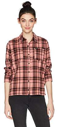 Hurley Women's Apparel Long-Sleeve Plaid Flannel Button Down