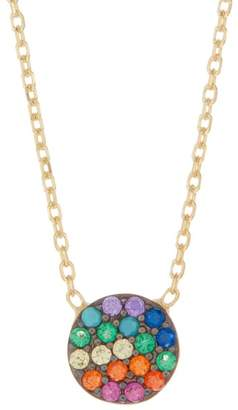 Argentovivo 18K Gold Plated Sterling Silver Multicolor Pave CZ Disc Pendant Necklace
