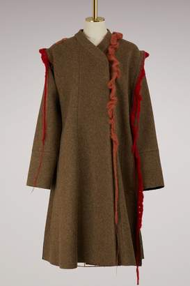 Maison Margiela Wool coat with crochet details