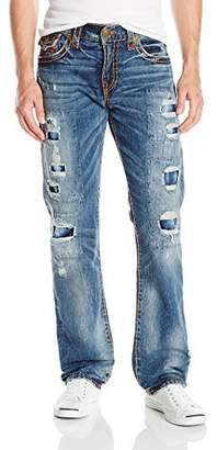 True Religion Men's Ricky Relaxed Straight Leg Rip & Repair Super T Jean