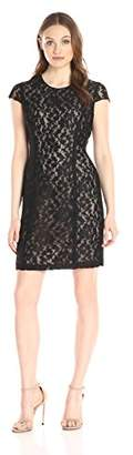Lark & Ro Women's Short Sleeve Graphic Lace Sheath Dress