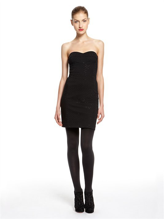 DKNY Luxe Ponte Strapless Dress With Sweetheart Neckline And Allover Studs