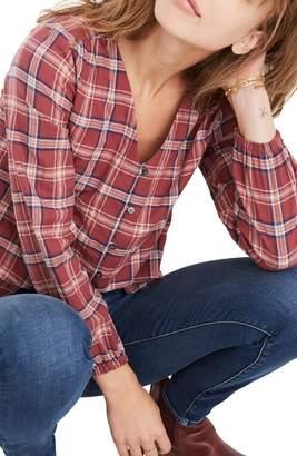 Madewell Stratfield Plaid V-Neck Button Down Shirt