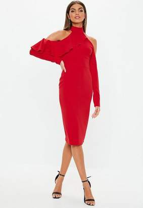 Missguided Red High Neck Frill Long Sleeve Midi Dress