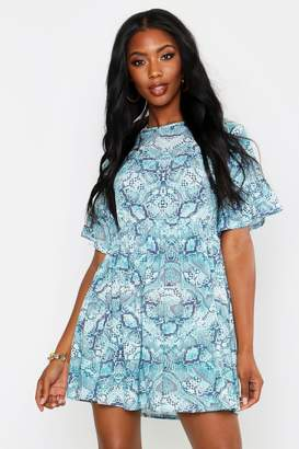boohoo Snake Print Smock Dress