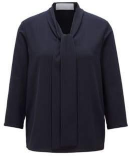 BOSS Hugo Lightweight blouse in stretch crepe tie neck 0 Open Blue