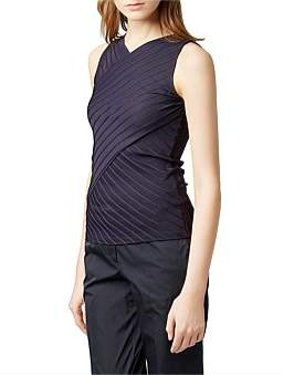 HUGO BOSS Slim-Fit Top In Ribbed Fabric With Wrap Effect