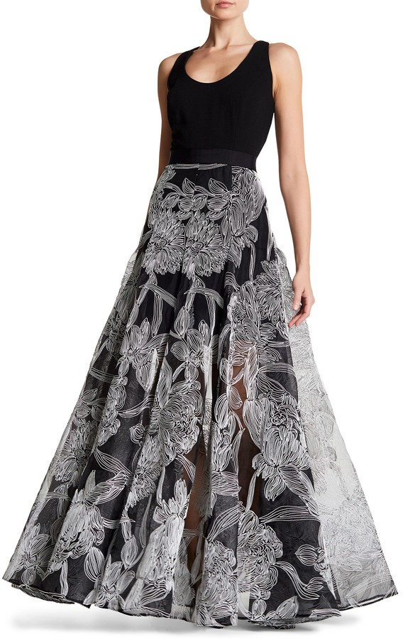 Carmen Marc Valvo Carmen Marc Valvo Embroidered Floral Gown