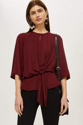 Topshop Slouchy knot front blouse
